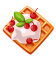 icon cartoon waffles with vector image