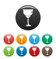 jewish cup icons set color vector image vector image