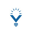 light bulb icon with letter v with sun beams vector image vector image