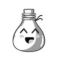 line kawaii cute happy cloth bag vector image vector image