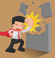 Man Hero Worker Punch Wall vector image vector image