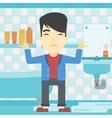 Man in despair standing near leaking sink vector image vector image