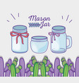 mason jars with cactus bow decoration vector image vector image