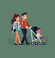 parents with little child in stroller vector image