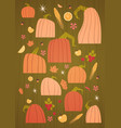 pumpkins set harvest autumn concept vegetables and vector image