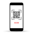 scan qr code to mobile phone electronic digital vector image vector image