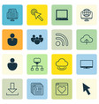 set of 16 internet icons includes blog page vector image vector image