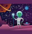 space background with character of funny alien vector image