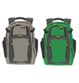 Two modern backpacks standing on white background vector image