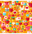 valentine day flat design orange seamless pattern vector image vector image