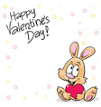 valentines background with flowers and cute bunny vector image vector image
