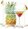 Watercolor Pineapple and Cosmopolitan vector image vector image