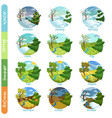 twelve months of the year set four seasons nature vector image