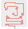 grey maze with red solution vector image