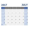 2017 July calendar week starts on Sunday vector image vector image