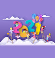 2021 new year card kids different nationalities vector image