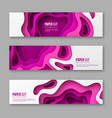 3d paper cut style horizontal banners or stickers vector image