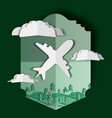 airplane flying with clouds and landscape vector image vector image
