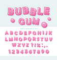 bubble gum font design sweet abc letters and vector image