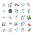 business report isometric icons pack vector image vector image