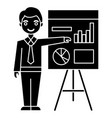 businessman showing presentation board icon vector image