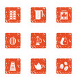 coffee day icons set grunge style vector image vector image