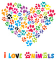 Colorful heart with animals footprints vector image vector image
