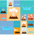 concept of active volcano and geyser in action vector image vector image