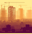 construction site with crane and building vector image