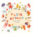 cute autumn background vector image vector image
