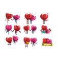 cute smiling red and pink hearts characters set vector image vector image