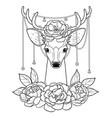deer and peonies outline pattern vector image