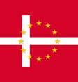 denmark national flag with a star circle of eu vector image vector image