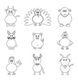 farm animals simple outline icons set eps10 vector image