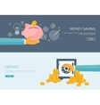 Flat backgrounds set Piggy vector image
