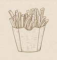 french fries in a paper cup hand drawn sketch on vector image vector image