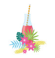 fresh juice fruit in botttle with straw in floral vector image