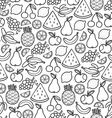 Fruits doodle pattern in black vector image vector image