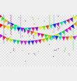 garlands flags and confetti with ribbons vector image