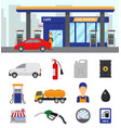 gas station gasoline fuel or petrol and vector image