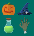 halloween icon set pumpkin hand flask hat vector image vector image