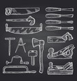 hand drawn carpentry on black chalkboard vector image vector image
