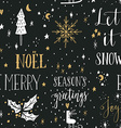 hand drawn seamless pattern with christmas design vector image vector image