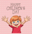 happy children day card cute boy wearing red vector image vector image