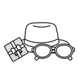 hat with glasses and gift box black and white vector image vector image