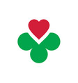 heart and clover icon logo vector image
