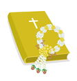 Holy Bible with Wooden Cross and Flower Garland vector image vector image