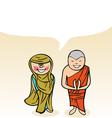 Indian cartoon couple bubble dialogue vector image vector image