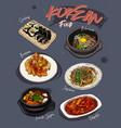 korean food menu restaurant korean food sketch vector image vector image
