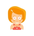 Little Red Head Girl In Red Dress Fan In Love Flat vector image vector image